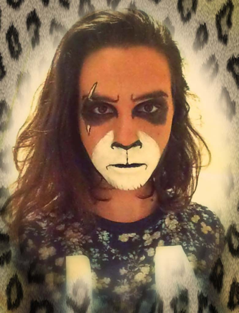 Musical Theatre student, Hannah Anderson, in some sassy Scar makeup, for our production of the mini-musical The Lion King